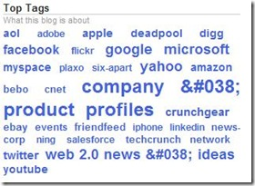 Techcrunch - top tags